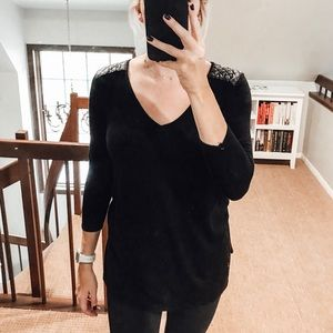 Sweaters - H&M Sweater with Faux Leather Shoulder Detail